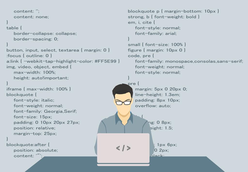 Infografia de un Scrum developer trabajando en su portatil con codigo Html